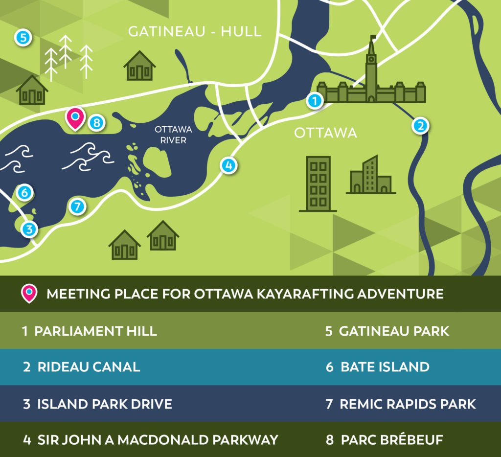 Ottawa River whitewater kayarafting adventure map of meeting location